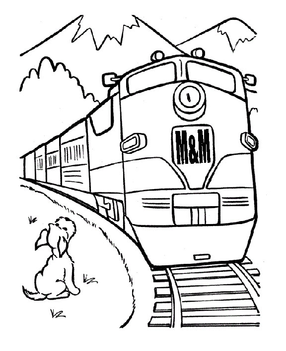 mm railroad diesel trainwith a dog