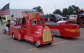 M&M firetruck and trackless train