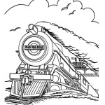 M&M Railroad steam train coloring page